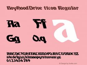 BoyHoodDrive ttcon Regular Altsys Metamorphosis:10/27/94 Font Sample