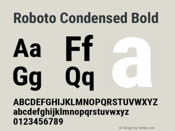 Roboto Condensed Bold Version 2.000980; 2014; ttfautohint (v1.4.1) Font Sample
