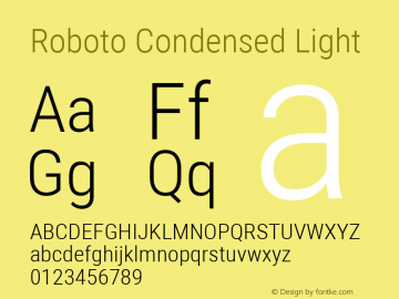 Roboto Condensed Light Version 2.000980; 2014; ttfautohint (v1.4.1) Font Sample