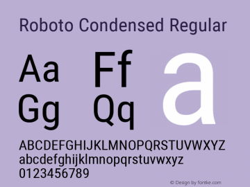 Roboto Condensed Regular Version 2.000980; 2014; ttfautohint (v1.4.1) Font Sample