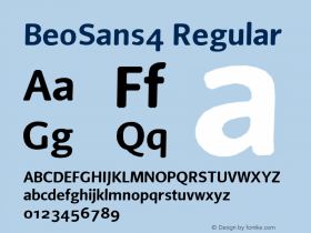 BeoSans4 Regular Macromedia Fontographer 4.1 12/25/97 Font Sample
