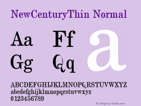 NewCenturyThin Normal 1.0 Tue Sep 20 17:27:17 1994 Font Sample
