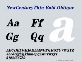 NewCenturyThin Bold-Oblique 1.0 Tue Sep 20 17:50:08 1994 Font Sample