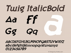 Twig ItalicBold Version 001.000 Font Sample