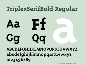 TriplexSerifBold Regular Macromedia Fontographer 4.1 12/22/96图片样张