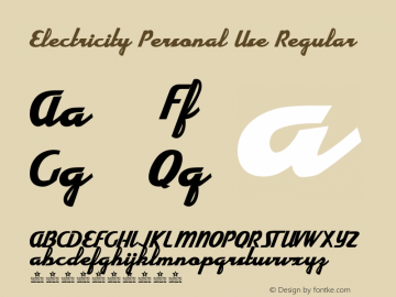 Electricity Personal Use Regular Version 001.001 Font Sample