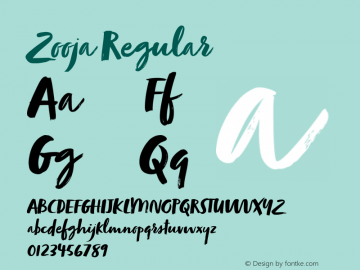 Zooja Regular Version 1.000 Font Sample