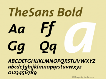 TheSans Bold Version 1.00 Font Sample