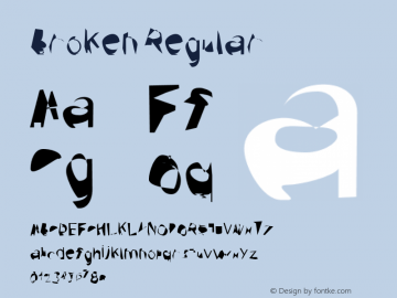 Broken Regular Version 0.02 Font Sample