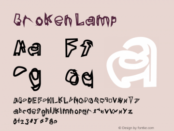 Broken Lamp Version 0.02 Font Sample