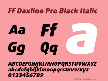 FF Daxline Pro Black Italic Version 7.504; 2010; Build 1021;com.myfonts.easy.fontfont.daxline.pro-black-italic.wfkit2.version.4gax Font Sample