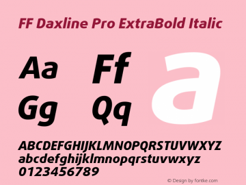 FF Daxline Pro ExtraBold Italic Version 7.504; 2010; Build 1021;com.myfonts.easy.fontfont.daxline.pro-extra-bold-italic.wfkit2.version.4gBJ Font Sample