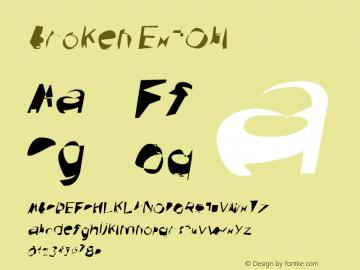 Broken ExtObl Version 0.02 Font Sample