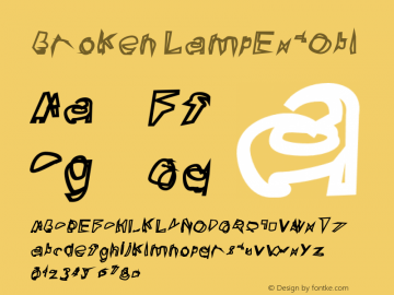 Broken LampExtObl Version 0.02 Font Sample