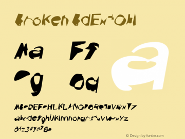 Broken BdExtObl Version 0.02 Font Sample