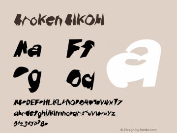 Broken BlkObl Version 0.02 Font Sample