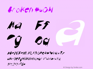 Broken SuObl Version 0.02 Font Sample