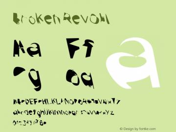 Broken RevObl Version 0.02 Font Sample