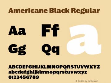 Americane Black Regular Version 1.000 Font Sample