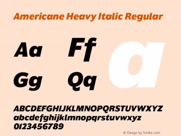 Americane Heavy Italic Regular Version 1.000图片样张