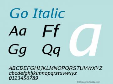 Go Italic Version 2.004; ttfautohint (v1.5) Font Sample