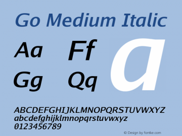 Go Medium Italic Version 2.004; ttfautohint (v1.5) Font Sample