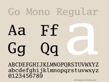 Go Mono Regular Version 2.004; ttfautohint (v1.5) Font Sample