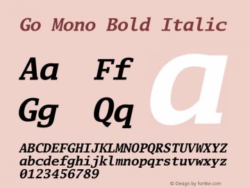 Go Mono Bold Italic Version 2.004; ttfautohint (v1.5) Font Sample