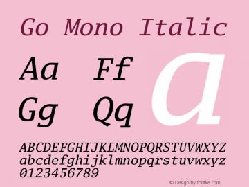 Go Mono Italic Version 2.004; ttfautohint (v1.5) Font Sample