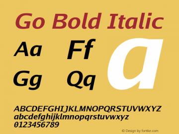 Go Bold Italic Version 2.004; ttfautohint (v1.5) Font Sample