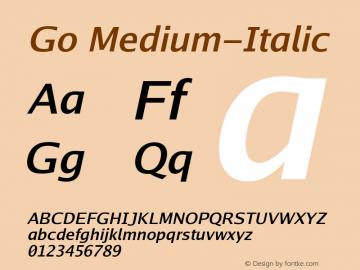 Go Medium-Italic Version 2.004; ttfautohint (v1.5) Font Sample