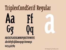 TriplexCondSerif Regular Version 1.00 Font Sample