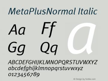 MetaPlusNormal Italic Macromedia Fontographer 4.1 12/26/97 Font Sample