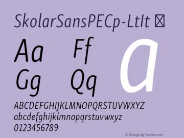 SkolarSansPECp-LtIt ☞ Version 2.004;PS 2.003;hotconv 1.0.88;makeotf.lib2.5.647800; ttfautohint (v1.5);com.myfonts.easy.rosetta.skolar-sans-pe.compressed-light-italic.wfkit2.version.4FuU Font Sample