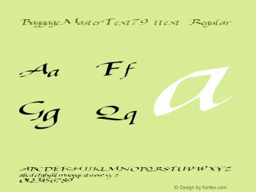 BaggageMasterText79 ttext Regular Altsys Metamorphosis:10/28/94 Font Sample