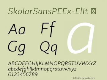 SkolarSansPEEx-ElIt ☞ Version 2.004;PS 2.003;hotconv 1.0.88;makeotf.lib2.5.647800; ttfautohint (v1.5);com.myfonts.easy.rosetta.skolar-sans-pe.ex-extralight-italic.wfkit2.version.4Fty Font Sample