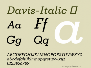 Davis-Italic ☞ Version 1.000;com.myfonts.easy.canadatype.davis.italic.wfkit2.version.4FDp图片样张