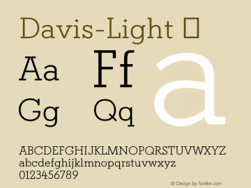 Davis-Light ☞ Version 1.000;com.myfonts.easy.canadatype.davis.light.wfkit2.version.4FDq图片样张