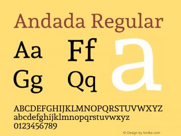 Andada Regular Version 1.003 Font Sample