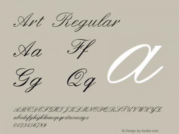 Art Regular Version 1.00 Font Sample