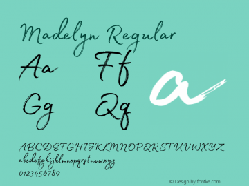 Madelyn Regular Version 1.000;PS 001.000;hotconv 1.0.88;makeotf.lib2.5.64775 Font Sample