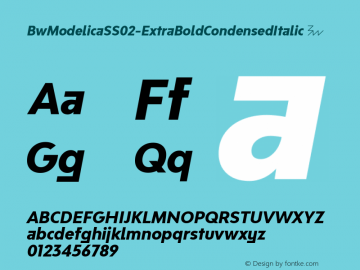 BwModelicaSS02-ExtraBoldCondensedItalic ☞ Version 2.000;com.myfonts.easy.branding-with-type.bw-modelica-condensed.ss02-extra-bold-condensed-italic.wfkit2.version.4FUJ图片样张
