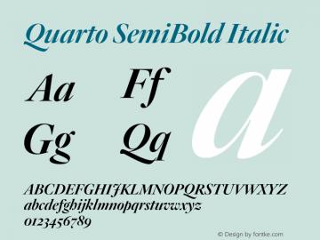 Quarto SemiBold Italic Version 1.200 Font Sample