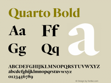 Quarto Bold Version 1.200 Font Sample