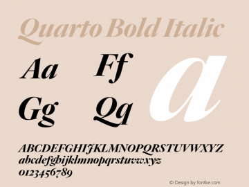 Quarto Bold Italic Version 1.200 Font Sample