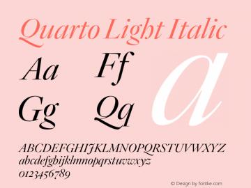 Quarto Light Italic Version 1.200 Font Sample