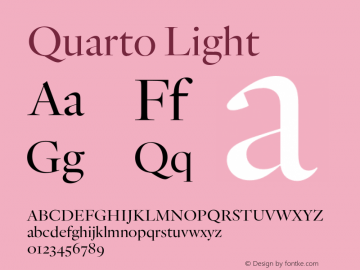 Quarto Light Version 1.200 Font Sample