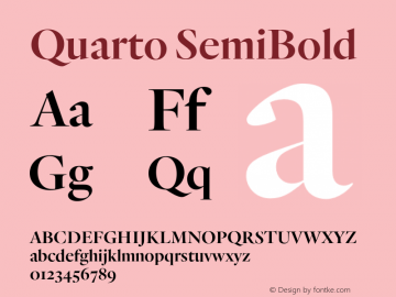 Quarto SemiBold Version 1.200 Font Sample