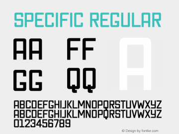 Specific Regular 1.0 Font Sample