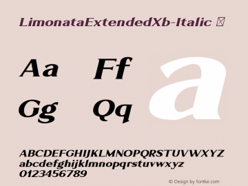 LimonataExtendedXb-Italic ☞ Version 1.000;com.myfonts.easy.chank.limonata.extended-extrabold-italic.wfkit2.version.4Dg3 Font Sample